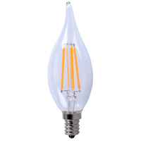LED Filament Candelabra LED LED Filament Candelabra E12 4.5 watt 2700K Bulb in Flame Tip, Flame Tip, Dimmable, 40 Watt Equivalent, 360°, 300 Lumens, 80 CRI