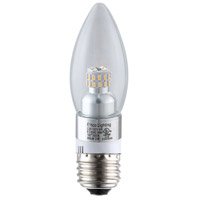 Elitco Lighting by Elegant Lighting LED Clear Candle 4 Watt 120V E12 Bulb 4100K in Chrome, Dim-Driver, 35 Watt Equivalent, 320 Lumens, 80 CRI, E12SB-4-D-41-C