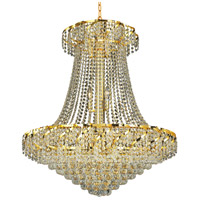 Elegant Lighting Belenus 18 Light Dining Chandelier in Gold with Elegant Cut Clear Crystal ECA1D30G/EC