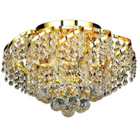 Elegant Lighting Belenus 6 Light Flush Mount in Gold with Elegant Cut Clear Crystal ECA1F16G/EC