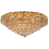 Elegant Lighting Belenus 10 Light Flush Mount in Gold with Elegant Cut Clear Crystal ECA1F26G/EC