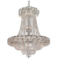 Elegant Lighting Belenus 18 Light Dining Chandelier in Chrome with Elegant Cut Clear Crystal ECA2D30C/EC