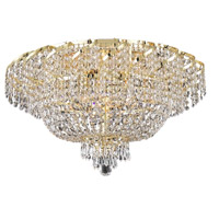 Elegant Lighting Belenus 10 Light Flush Mount in Gold with Elegant Cut Clear Crystal ECA2F26G/EC