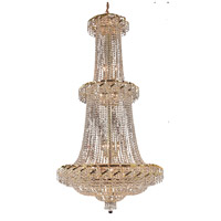 Elegant Lighting Belenus 32 Light Foyer in Gold with Elegant Cut Clear Crystal ECA2G36G/EC