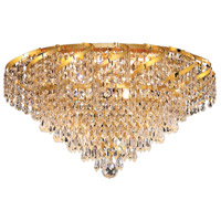 Elegant Lighting Belenus 6 Light Flush Mount in Gold with Royal Cut Clear Crystal ECA4F16G/RC
