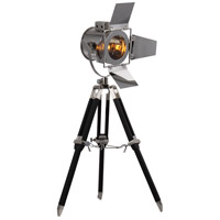 Ansel Tripod 16 inch 60 watt Chrome and Black Floor Lamp Portable Light, Urban Classic