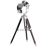 Ansel Tripod 32 inch 60 watt Chrome and Brown Floor Lamp Portable Light, Urban Classic
