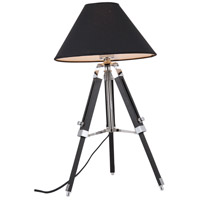Ansel Tripod 24 inch 40 watt Chrome and Black Floor Lamp Portable Light, Urban Classic