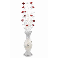 Elegant Lighting South Beach 8 Light Floor Lamp in Silver and Red FL4004