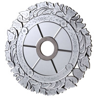 Mirrored Medallion Silver Leaf with Clear Mirror Medallion