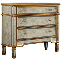 Elegant Lighting Florentine 3 Drawer Cabinet in Gold and Antique Mirror MF1-1001GA