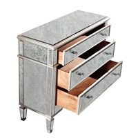 Elegant Lighting Florentine 3 Drawer Cabinet in Silver and Antique Mirror MF1-1001SA