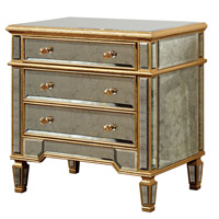 Elegant Lighting Florentine 3 Drawer Cabinet in Gold and Antique Mirror MF1-1002GA