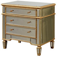 Elegant Lighting Florentine 3 Drawer Cabinet in Gold and Clear Mirror MF1-1002GC