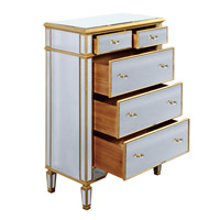 Elegant Lighting Florentine 5 Drawer Cabinet in Gold and Clear Mirror MF1-1003GC