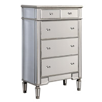 Elegant Lighting Florentine 5 Drawer Cabinet in Silver and Clear Mirror MF1-1003SC