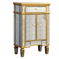 Elegant Lighting Florentine 1 Drawer 2 Door Cabinet in Gold and Antique Mirror MF1-1004GA