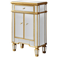 Elegant Lighting Florentine 1 Drawer 2 Door Cabinet in Gold and Clear Mirror MF1-1004GC
