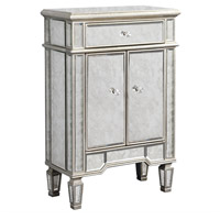Elegant Lighting Florentine 1 Drawer 2 Door Cabinet in Silver and Antique Mirror MF1-1004SA
