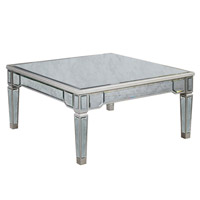 Elegant Lighting Florentine Coffee Table in Silver and Antique Mirror MF1-2002SA