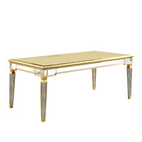 Elegant Lighting Florentine Dining Table in Gold and Clear Mirror MF1-3001GC