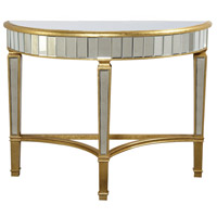 Elegant Lighting Florentine Half Moon Table in Gold and Clear Mirror MF1-4001GC