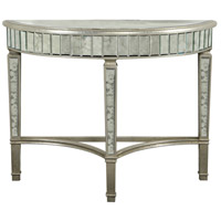 Elegant Lighting Florentine Half Moon Table in Silver and Antique Mirror MF1-4001SA