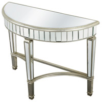 Elegant Lighting Florentine Half Moon Table in Silver and Clear Mirror MF1-4001SC