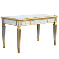 Elegant Lighting Florentine 3 Drawer Desk in Gold and Clear Mirror MF1-4002GC