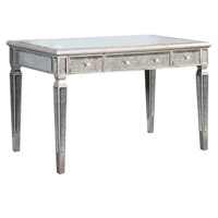 Elegant Lighting Florentine 3 Drawer Desk in Silver and Antique Mirror MF1-4002SA