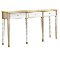 Elegant Lighting Florentine 3 Drawer Table in Gold and Antique Mirror MF1-4004GA - Open Box