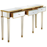 Elegant Lighting Florentine 3 Drawer Table in Gold and Clear Mirror MF1-4004GC