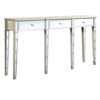 Elegant Lighting Florentine 3 Drawer Table in Silver and Clear Mirror MF1-4004SC