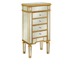 Elegant Lighting Florentine 4 Drawer Jewelry Armoire in Gold and Antique Mirror MF1-5102GA