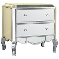 Elegant Lighting Camille 2 Drawer Cabinet in  Silver and Clear Mirror MF3-1001SC