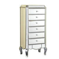 Elegant Lighting Camille 6 Drawer Chest in Silver and Clear Mirror MF3-1002SC