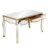 Elegant Lighting Camille 3 Drawer Desk in Gold and Clear Mirror MF3-4002GC - Open Box
