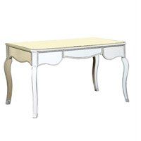 Elegant Lighting Camille 3 Drawer Desk in Silver and Clear Mirror MF3-4002SC
