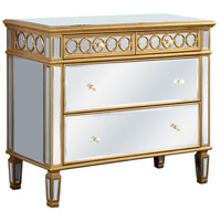 Elegant Lighting Audrey 2 Drawer Cabinet in Gold and Clear Mirror MF4-1001GC - Open Box