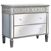 Elegant Lighting Audrey 2 Drawer Cabinet in Sliver and Clear Mirror MF4-1001SC