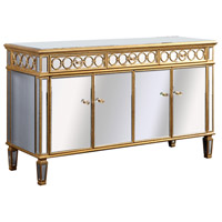 Elegant Lighting Audrey 4 Door Cabinet in Gold and Clear Mirror MF4-1002GC