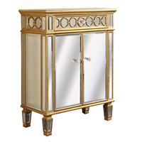 Elegant Lighting Audrey 2 Door Cabinet in Gold and Clear Mirror MF4-1003GC