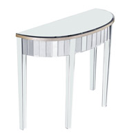 Elegant Lighting Mirage Curve Front Table in Silver and Clear Mirror MF5-4001SC
