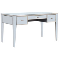 Elegant Lighting Mirage 3 Drawer Desk in Silver and Clear Mirror MF5-4002SC