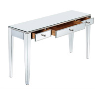 Elegant Lighting Mirage 3 Drawer Desk in Silver and Clear Mirror MF5-4003SC