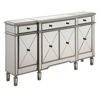 Elegant Lighting Singature Cabinet 3-Drawer 4-Door 60 L x 14 W x 36 H in Silver with Clear Mirror MF6-1001SC