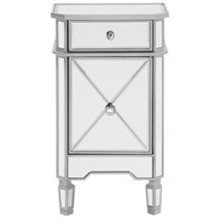 Elegant Lighting MF6-1015S Contempo Silver Cabinet, 1-Drawer, 1-Door, Clear Mirror