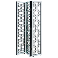 Chamberlan Silver Room Divider, 3-Panel, Clear Mirror