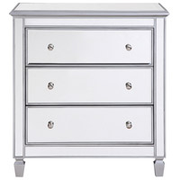 Chamberlan Silver Bedside Cabinet, 3-Drawer, Clear Mirror