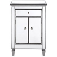 Chamberlan Silver Cabinet, 1-Drawer, 2-Door, Clear Mirror